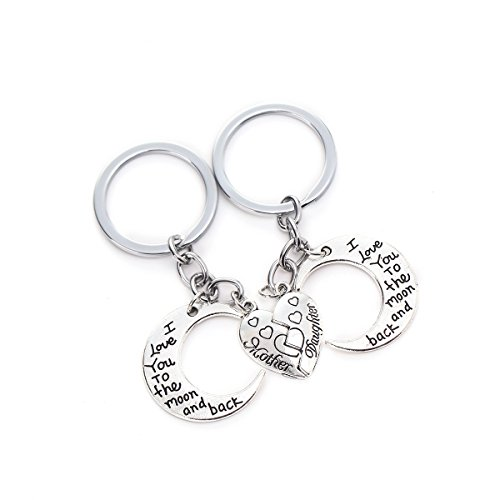 I Love You To The Moon And Back Necklaces Set Mother Daughter 2 Half Broken Hearts Necklace Keychain Set (Heart Keychain) (Set Key Chain)