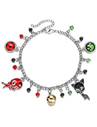 Noir Charm Bracelet Ladybug and Cat with Crystal Beads Girls Ladybug Party Cosplay Costume Kids Jewelry Adjustable Bracelet…