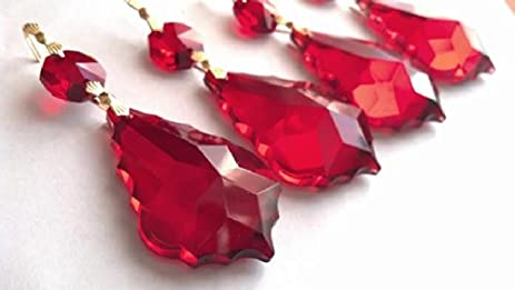 Amazoncom Mm Chandelier Crystals Red French Cut Ornament Pack Of - Chandelier crystals red