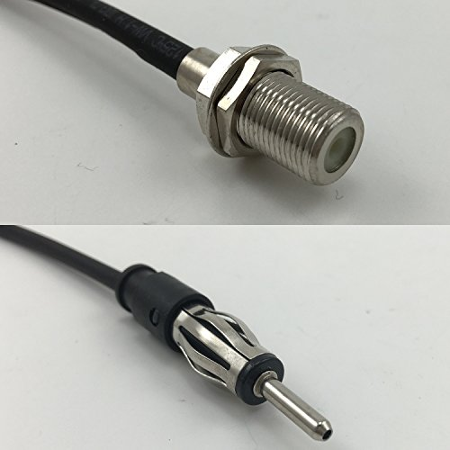 - 6 inch RG188 F FEMALE to AM/FM MALE Pigtail Jumper RF coaxial cable 50ohm High Quality Quick USA Shipping