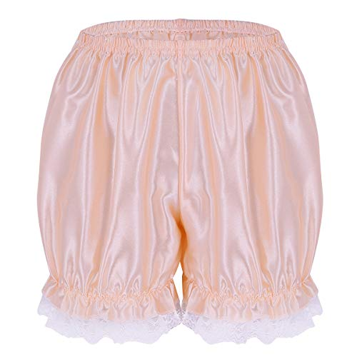 dPois Womens Sexy Soft Shiny Lace Hem Panties Sissy Pettipants Dance Bloomers Booty Shorts Underwear Pearl Pink One Size(Waist: 58-110cm/ 23.0-43.0'')