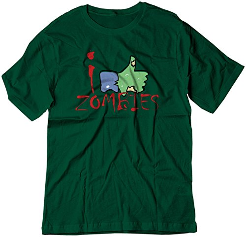 BSW Youth I Like Zombies Thumbs Up Facebook Theme Shirt XS Forest Green