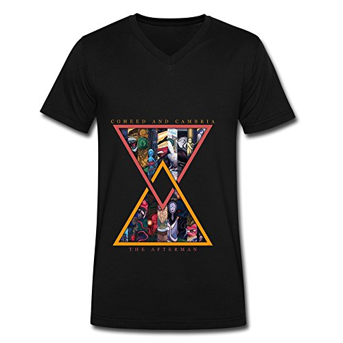 QM Rock Band Coheed And Cambria The Afterman V Neck T SQMrt For Men Black L ()