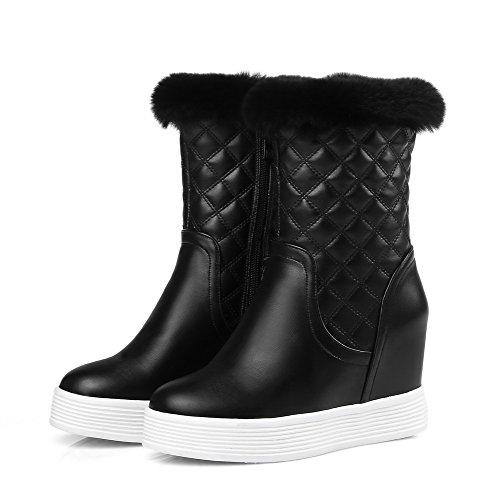 AllhqFashion Womens Zipper Round Closed Toe High-Heels PU Low-top Boots Black szExMBFKR