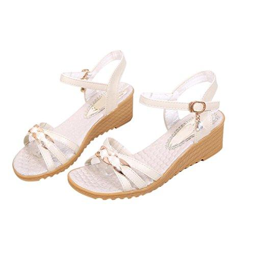 Elevin (tm) Dames Zomermode Peep-toe Bohemen Platform Platte Slippers Sandaal Schoenen Wit