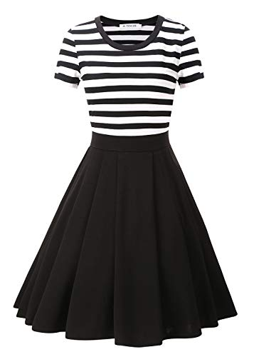BI.TENCON Women's Black and White Striped Short Sleeves Vintage Flared Casual Dress Midi Length Plus Size 3XL ()