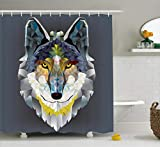 Ambesonne Zoo Shower Curtain, Colorful Artistic Graphic Design Coyote Wolf Beast Style Print, Polyester Fabric Bathroom Shower Curtain Set with Hooks, 75 Inches Long, Grey Navy Yellow