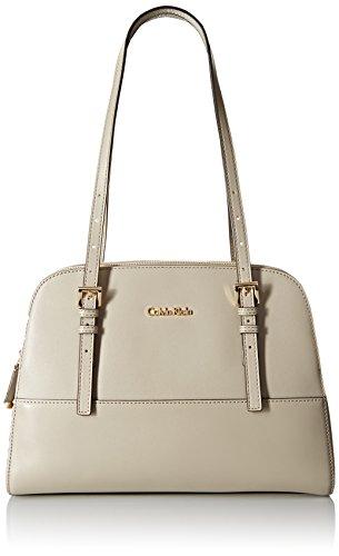 Calvin Klein Glazed Satchel Bag, Stone, One Size Glazed Leather Satchel