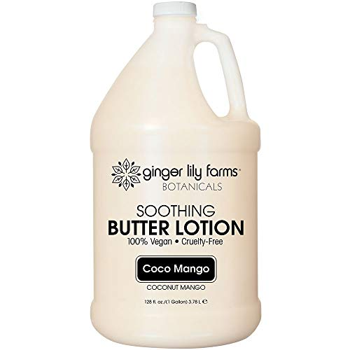 Ginger Lily Farms Botanicals Coco Mango Soothing Butter Lotion, 100% Vegan, Paraben, Sulfate, Phosphate, Gluten & Cruelty-Free, 1 gallon