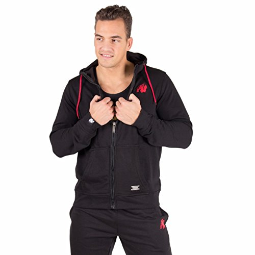 Gorilla Wear Classic Zipped Hoodie - Black schwarz - Bodybuilding und Fitness Jacke für Herren