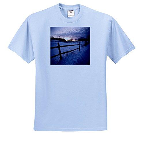 Daybreak Three Light - TDSwhite – Winter Seasonal Nature Photos - Winter Theme Daybreak Sunrise Fence - T-Shirts - Toddler Light-Blue-T-Shirt (2T) (ts_285019_63)