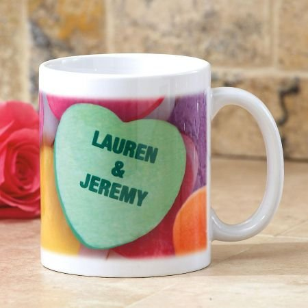 Personalized Conversation Heart Ceramic Valentine's Day Coffee Mug - 11 oz mug (Conversation Hearts Personalized)