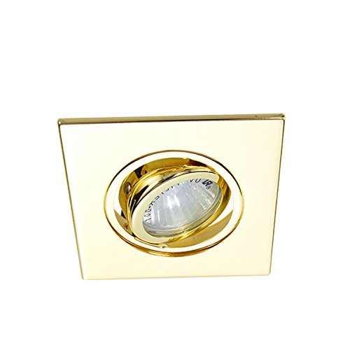 Eco Lighting NY HLV3006GD 3-Inch for both Line/Low Voltage Trim Recessed Light, Adjustable Square Gimbal Ring, All Gold