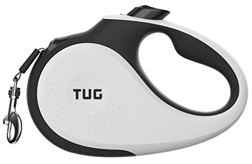 TUG Patented 360° Tangle-Free, Heavy Duty Retractable Dog Leash For Up To 55 lb Dogs; 16 ft Strong Nylon Tape/Ribbon; One-Handed Brake, Pause, (Premier Tug)