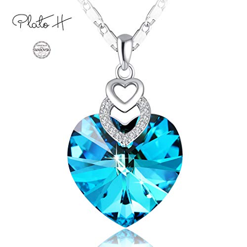 PLATO H Love Heart Pendant Necklace Brave Heart Heart of Ocean Blue Pendant Necklace Woman Fashion Necklace with Swarovski Crystals Gift for Her, 18