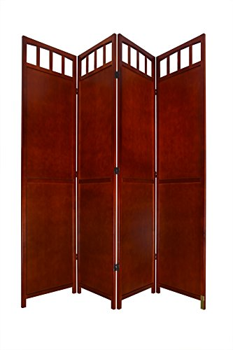 (Legacy Decor 4 Panel Solid Wood Room Screen Divider Walnut)