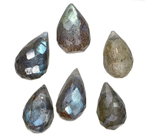 - uGems Labradorite Briolette Drop Facet Beads ~9mm to 12mm (Qty=6)