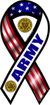 Flagline Army - 2 in 1 Patriotic Ribbon Magnet, 4 in x 8 in