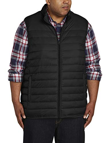 Amazon Essentials Men's Big & Tall Lightweight Water-Resistant Packable Puffer Vest, Black, 3X Tall