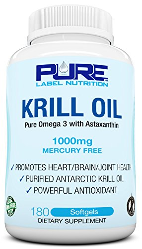 Krill Oil 1000mg with Astaxanthin 180 Caps Omega 3 6 9 – EPA DHA – 100% Purified, Mercury free and Wild Caught – Non GMO – Gluten FREE – Pure Krill Oil – Mega Dose Phospholipids Review