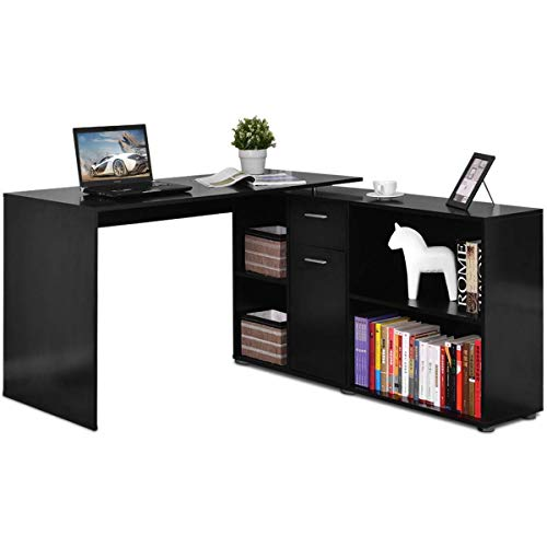 Tangkula L Shaped Desk Corner Desk, Home Office Wood Computer Workstation, Space Saving Computer Desk with Spacious Wooden Surface, Storage Shelves ()