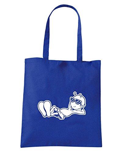 T-Shirtshock - Bolsa para la compra FUN0550 alien printed on white decals 3 59677 Azul Real