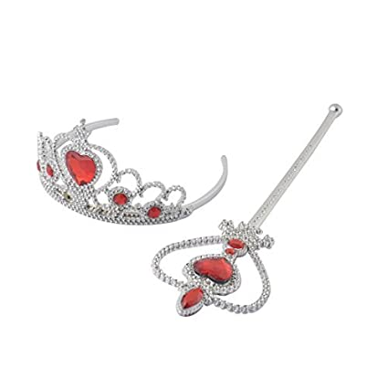eDealMax Cinta de cabeza Princesa Reina Accesorios Corona de la Tiara varita mágica de Plata del