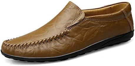 運転ファッションカジュアル男性ローファー高品質金属装飾アップリケリアル本革の靴男フラットシューズデュアル目的軽量柔軟な多色 (Color : カーキ, サイズ : 28 CM)