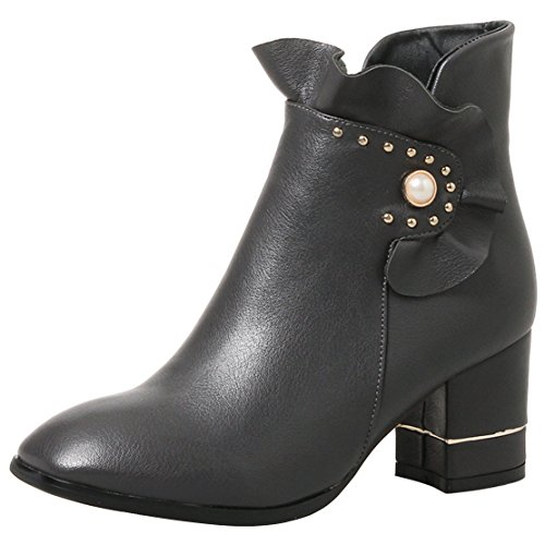 AIYOUMEI Damen Winter Blockabsatz Reißverschluss Kurz Stiefel mit Perle und 7cm Absatz Ankle Boots Grau