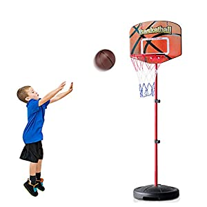Kids Basketball Hoop Stand Set Adjustable Height 2.59 – 5.24 ft with Ball and Net Toddlers Portable Play Sport Family Games for Boys Girls Children Indoors Outdoors Toys Birthday