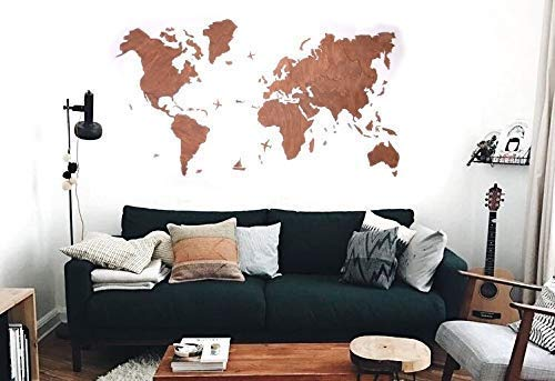 Wood World Map Wall Art Large Red Blank Travel Rustic Home Decor Office Dorm Living Room Interior Design Fathers Day