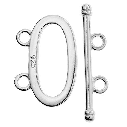 Dreambell 1 Set 925 Sterling Silver 2 Strand Oval Toggle Clasp Bar & Ring Connector