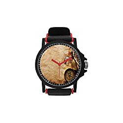 Compass Decor Unisex Silicone Watch,Compass Rope and Glasses on Old Paper History Exploring Cartography Illustration for Men,Diameter(Watch face): 1.5