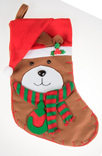 - Unique Bear Hanging Christmas Stocking | Soft Plush Cloth For Kids, Teens, and Adults | Cute Brown Bear Holiday Decor Theme | Perfect for Small Gifts, Stocking Stuffers, and Candy | 16