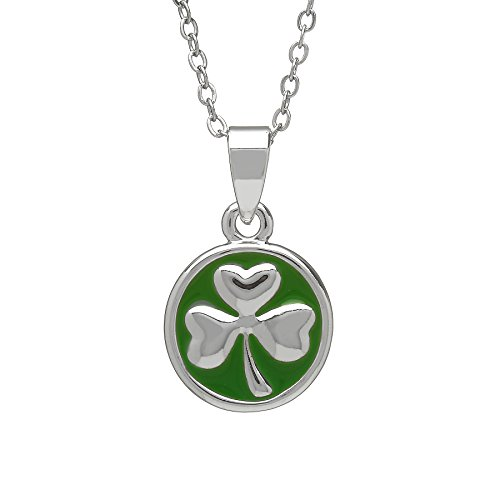 Amethyst Dublin Silver Plated Pendant in Shamrock Design with Green Enamel Background