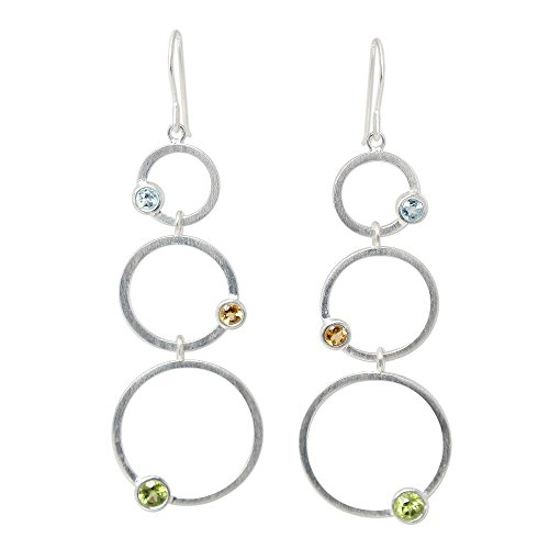 (NOVICA Multi-Gem Peridot .925 Sterling Silver Dangle Earrings 'Spring Rainbow')