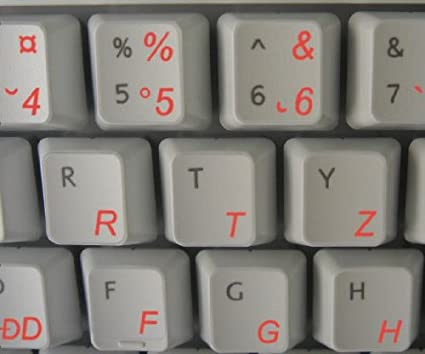 ROMANIAN KEYBOARD LABELS LAYOUT ON TRANSPARENT BACKGROUND WITH RED WHITE OR YELLOW LETTERING White