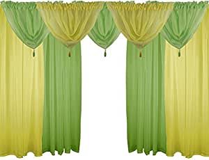 AMARILLO Y VERDE 9 piezas Juego de gasa 121,92 cm 122 cm con varilla cortinas y bufandas