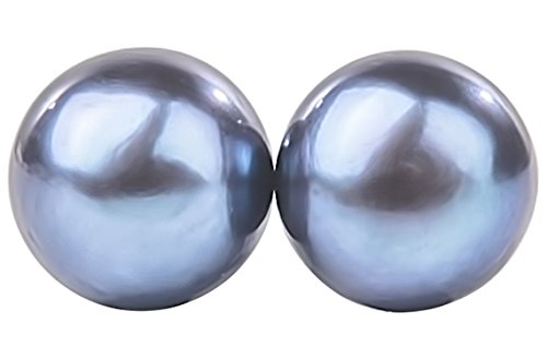Peacock Blue Freshwater Pearl Stud Earrings Sterling Silver 8mm