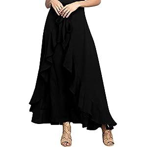 Crissiste Women Chiffon Tie-Waist Flouncing Peplum Skirt Maxi Overlay Pant Skirt BlackSmall