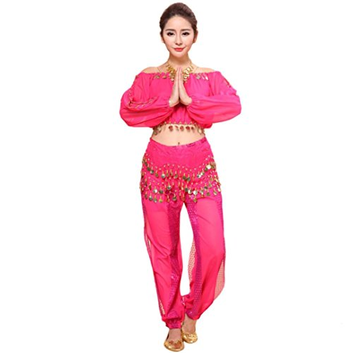 [Mikey Store Womens Indian Dancing Belly Dance Costumes Set Clothes (One size, Hot Pink)] (Military Style Dance Costumes)