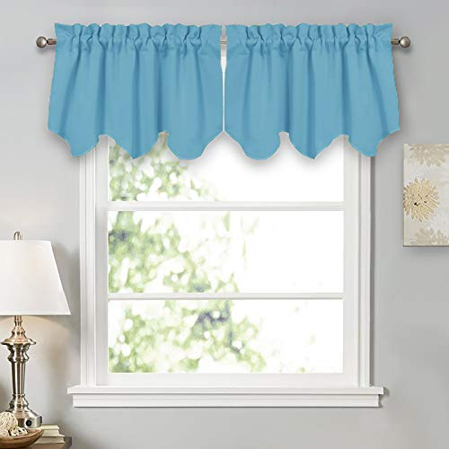 (PONY DANCE Window Curtain Valances - Room Darkening Natural Scalloped Tiers for Home Decor Rod Pocket Top Short Curtains & Drapes for Kitchen, W 42 x L 18 inch, Light Blue, Pack-2)