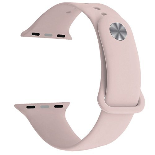 Yimzen Soft Silicone Sport iWatch Band Strap for Apple Watch Series 3 2 1 Sport and Edition, 38mm, Small/Medium, Pink Sand