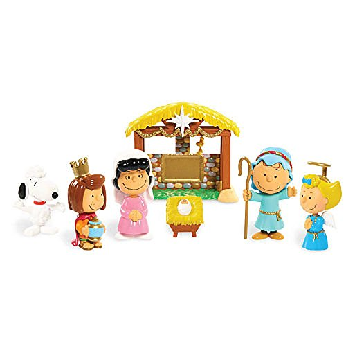 The Peanuts gang is ready for their Nativity scene. This deluxe figure set is the perfect addition to you holiday decorations or so much fun for children to play and reenact their favorite holiday scene. Figure set includes 7pieces: Charlie B...