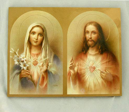 A beautiful Sacred Heart of Jesus and Immaculate Heart of Mary print on a Florentine Plaque, 7.75x9.75inches. Made in Italy.