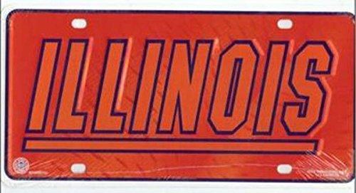 (NCAA Illinois Illini Metal License Plate Tag)