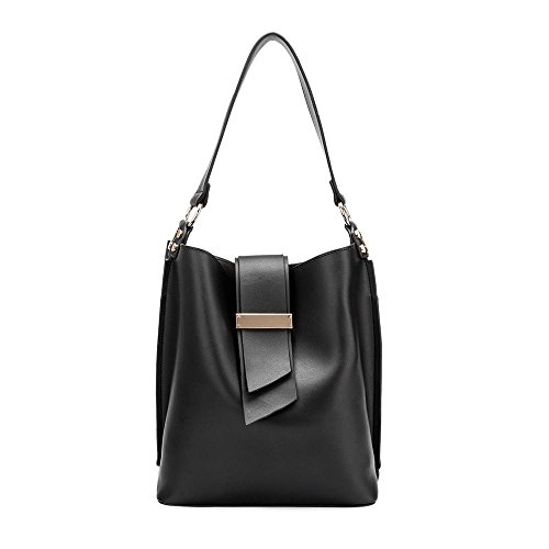 Melie Bianco Alessia Large Women's Everyday Tote Shoulder Bag with Crossbody Strap - Black (Melie Bianco Handbag Tote)