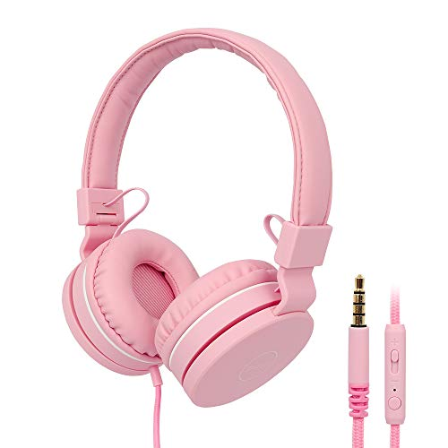 Kids Headphones, RegeMoudal Wired Kids Headphones, Volume Limited Kids On-Ear Headphones,Built-in Mic Stereo Tangle-Free 3.5MM Jack, Perfect for Children/Teens/Boys/Girls/School/Kindle/Tablet (Pink)