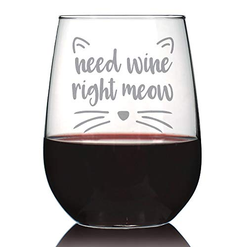 Need Wine Right Meow - Cute Funny Cat Stemless Wine Glass, Large 17 Ounces, Etched Sayings, Gift Box