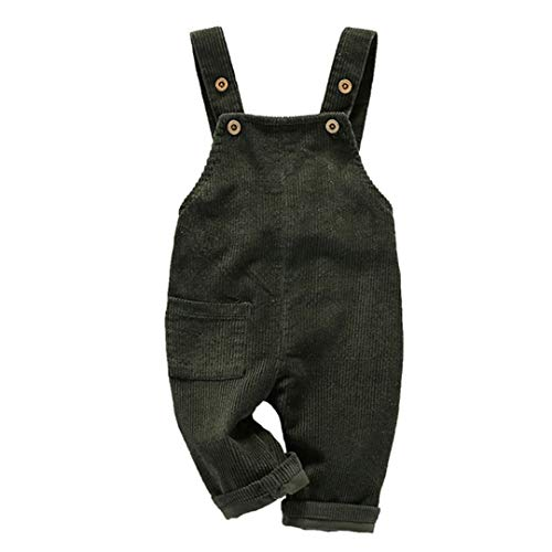 (Toddler Boy Girl Soft Corduroy Suspender Pants Kids Overalls Retro Size (4-5T) 110 (Green))